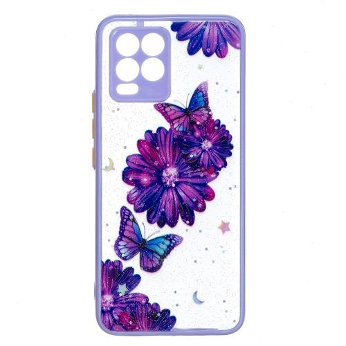 Удароустойчив Калъф Hard Acrylic + Soft TPU - Realme 8 / 8 Pro, Лилави цветя и пеперуди