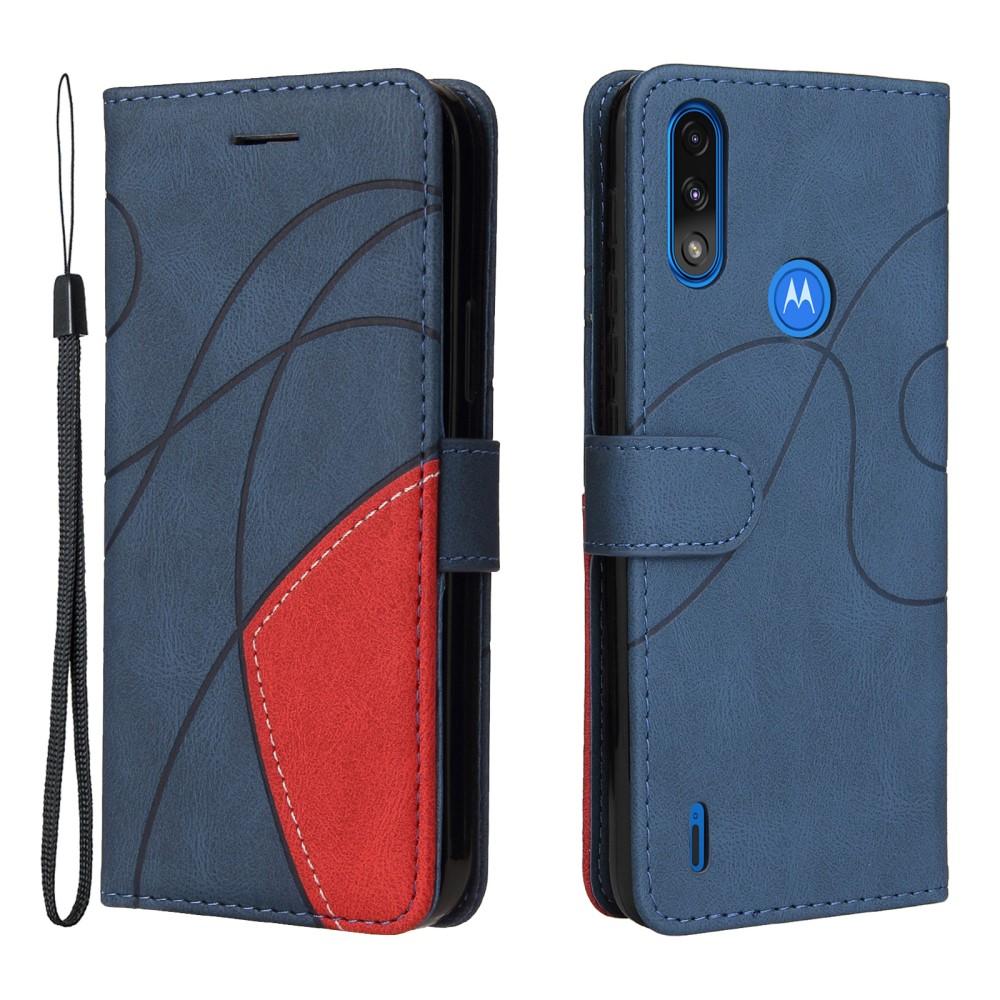 Калъф Тефтер Leather Bi-color за Motorola Moto E7 Power/Moto E7i Power , Син