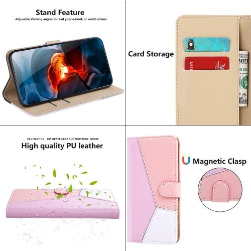 Калъф Тефтер Wallet Tri-color за Samsung Galaxy A22 4G, Лилав, Розов, Бял