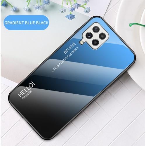 Калъф Гръб Glass за Samsung Galaxy A22 4G, Син-Черен