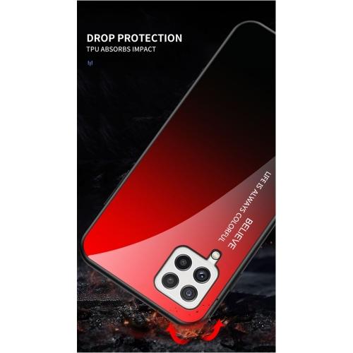 Калъф Гръб Glass за Samsung Galaxy A22 4G, Червен- Черен