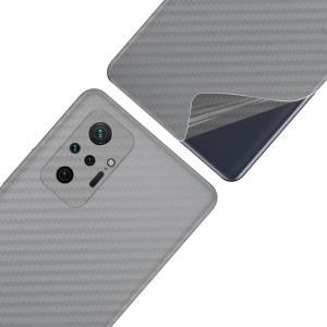 Фолио протектор за гърба на Xiaomi Redmi Note 10 Pro, Сребрист карбон
