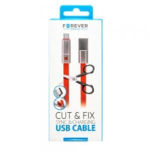 USB кабел Отрежи/Поправи Type-C 1.5 m,Червен